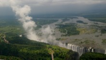 Beautiful views of the waterfall in Africa Landscapes Pictures